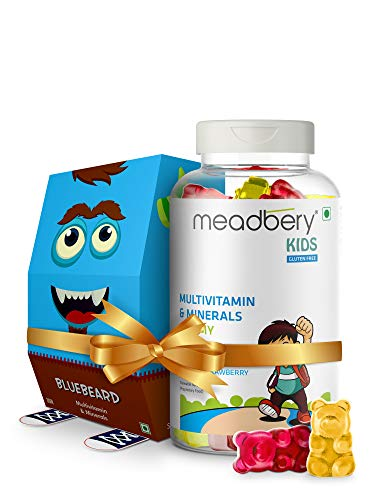 Meadbery Multivitamin & Mineral Gummies for Kids (Combo Gift Pack) with Calcium, Vitamin B12, Vitamin D, Zinc, Magnesium supplement For Overall Growth, Development & Immunity,30+30 Gummy Bears