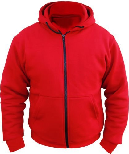 CE Armoured 100% Full Kevlar Ultimate Motorcycle Protection Red Hoodie Hoody Fleece (Small = 36