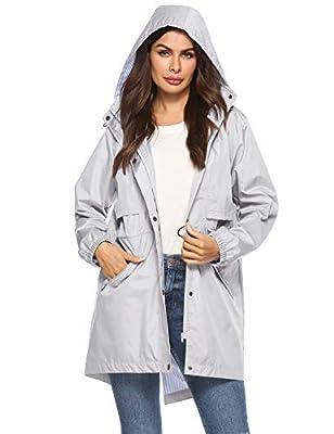 Avoogue Ladies Lined Rain Jackets Long with Hood Anorak Jacket Women Waterproof Gray S