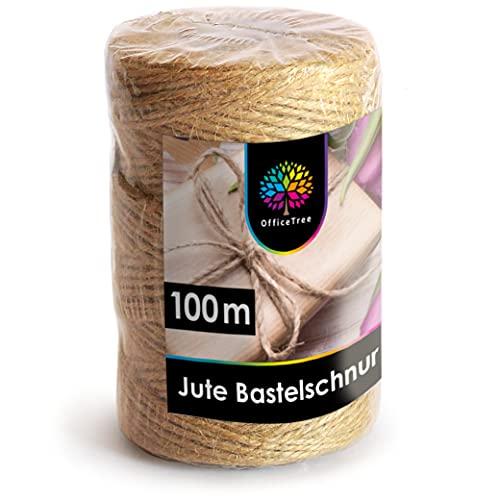OfficeTree 100 Meter Bastelschnur - Natur Kordel - 1 Rolle Juteschnur hochwertiges Natur Produkt für Haushalt Garten Dekoration oder zum Basteln