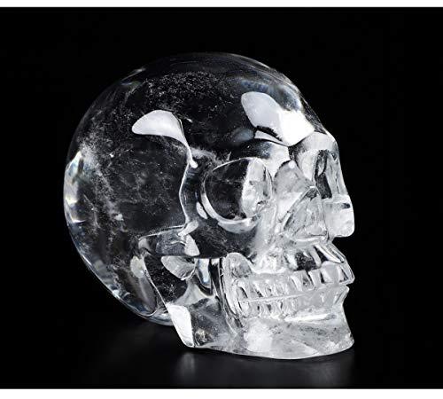Skullis 2.0' Clear Quartz Rock Crystal Carved Crystal Skull. Hand Carved Gemstone Fine Art Sculpture.