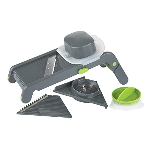 Prepworks by Progressive Compact Mandoline, Features Slice, Julienne and Spiral Cuts and 3 Thicknesses Thin, Medium and Thick, Noodle, Ribbon, Food Slicer, Vegetable Slice
