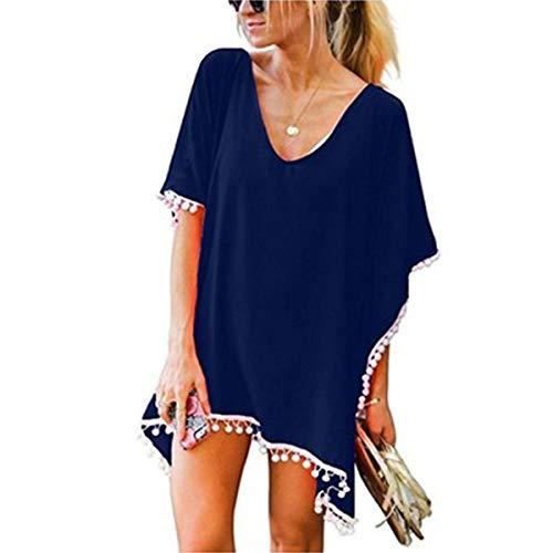 YONHEE Damen Sommer Strandkleid - Floral Kaftan Badeanzug Cover Up Chiffon Quaste Sommer Casual Badebekleidung Bikini Beach Dress (Navy-A)