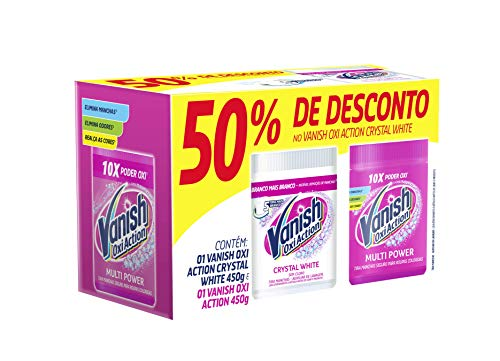 Kit Tira Manchas em Pó Vanish Oxi Action com 1 Rosa 450g e 1 Branco 450g