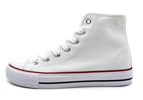 P&L Zapatillas Altas de Lona Mujer Botin Blancas Negras Basket Autoclave Blanco 40