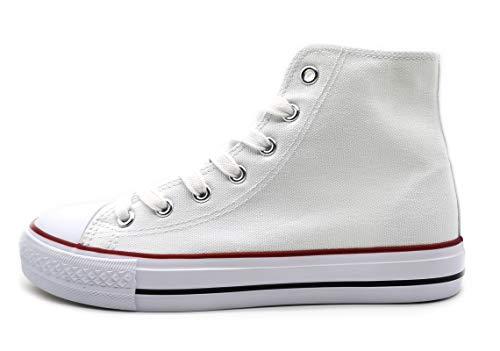 P&L Zapatillas Altas de Lona Mujer Botin Blancas Negras Basket Autoclave Blanco 36