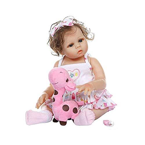 HUANLIAN 48Cm Reborn Baby Doll Girl 19 Pulgadas Full Silicone Linda Linda Lifelike Anatómicamente Corrí Color Rizado Muñeca Recién Nacidos Lavables