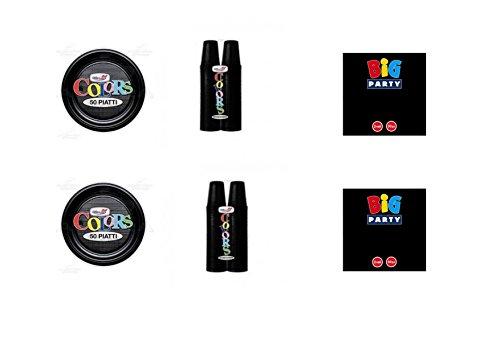 CDC - Kit n°13 Coordinato Monocolore Nero da tavola per Festa e Party ed Ogni ricorrenza - (50 Piatti, 100 Bicchieri, 50 tovaglioli)