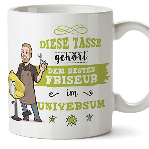 MUGFFINS (Taza en alemán) Taza Barber/Taza/Taza de Regalo Taza de café Hermosa y Divertida - Esta Taza Pertenece al Mejor Peluquero del Universo - cerámica 350 ml