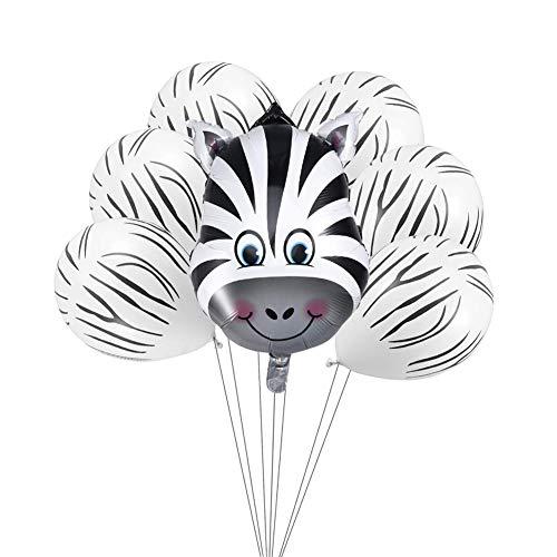 ED-Lumos 8 Stks Zebra Herbruikbare Helium Ballonnen en Latex Ballonnen met Lint voor Verjaardag Decoratie Gift
