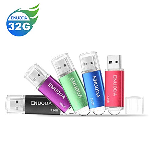 5 Pezzi 32GB Chiavetta ENUODA Pennetta Girevole USB 2.0 Unità Memoria Flash (Nero Viola Verde Blu Rosso)