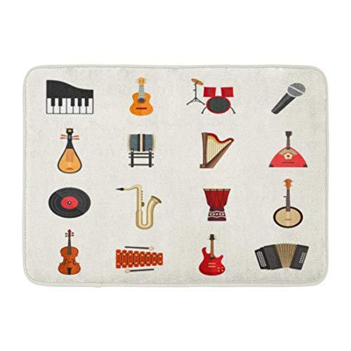 Yilan Badematte Aufkleber Musik Musikinstrumente Flache Violine Banjo Klavier Harmonische Piktogramm Badezimmer Dekor Teppich