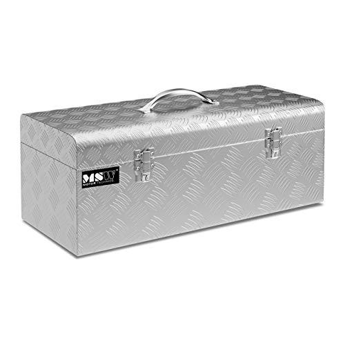 MSW Alubox Werkzeugkasten ATB-575 Deichselbox 31 L Transportbox Metallbox mit Deckel Werkzeugkoffer Riffelblech 57,5 x 24,5 x 22 cm Aluminiumbox