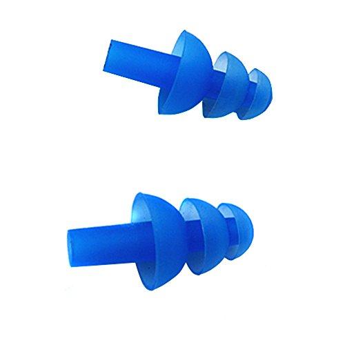 Preisvergleich Produktbild Silikon Ohrstöpsel Schwimmer - 5 Paar (10) Weich und flexibel Ohrstöpsel für Schwimmen oder Schlafsack mit Ohrstöpsel Fall blau