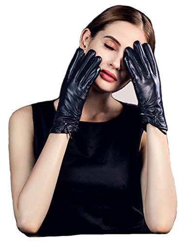 """YISEVEN Damen Lederhandschuhe Gefüttert Touchscreen Winterhandschuhe Lammfell Smartphone Handschuhe Leder Damenhandschuhe Warm Autofahrer Fahrerhandschuhe Winter Autohandschuhe, Navy blau Groß/7.5\"""""""