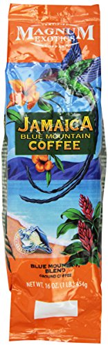 Jamaican Blue Mountain Coffee Blend, Ground - Medium Roast, Fresh Strong Arabica Coffee - Rich And Smooth Flavor - Magnum Exotics, 1 Lb Bag