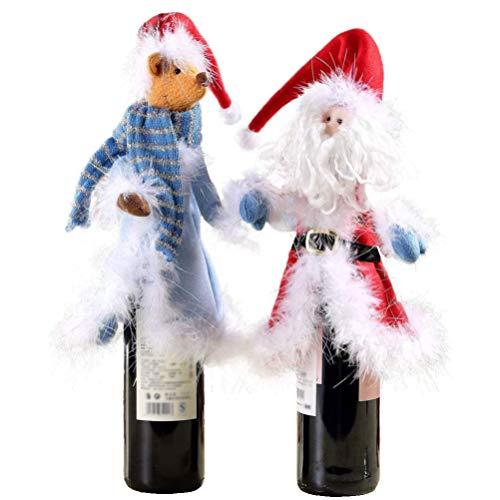 Toddmomy 2Pcs Tapas de Botellas de Vino de Navidad Funda de Botella de Champán Ropa de Botella de Vino Cubierta de Botella de Reno de Santa Claus Centros de Mesa de Navidad para La Cena en