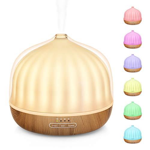 Maxcio 500ml Diffusore di Oli Essenziali con Luci Notturne 7 Colori LED, Senza BPA Umidificatore Ambiente con 2 Modalità di Nebbia, 35dB Diffusore con Funzione Timer, Senz acqua Spegnimento Automatico