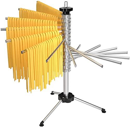 Tebery Stendibiancheria Pieghevole per Pasta, Stendino per 2.5 kg Pasta Lunga, 16 pioli estensibili, Spaghetti Dryer, Pasta Dryer