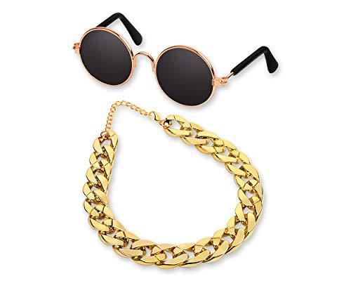 SCSpecial Retro runde Sonnenbrille mit Goldener Kette für Katzen und kleine Hunde Coole und lustige Brillen Haustiere Foto Requisiten zum Fotografieren