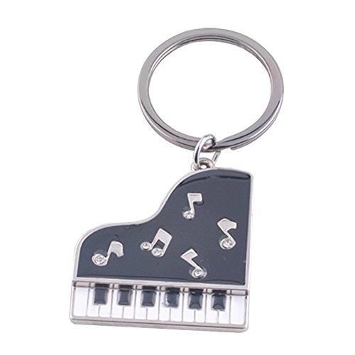 Lumanuby 1x Piano Key Ring Metal Klavier Anhänger Schlüsselbund mit Musiknotiz Bild Geschenk für Musikliebhaber oder Klavierspieler, Schlüsselanhänger Serie Size ca. 9 * 3.0cm