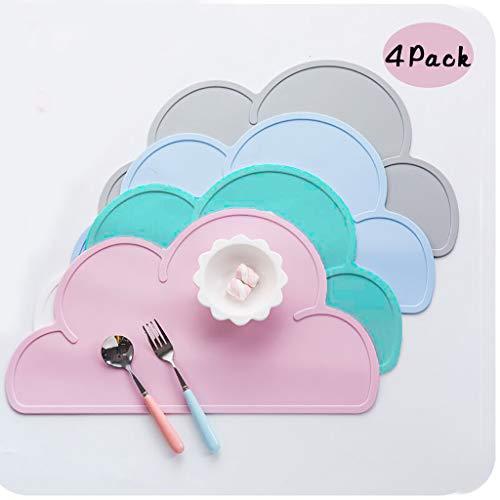 Coriver 4 STÜCKE Kinder Tischsets, Lebensmittelqualität Silikon Cloud Shaped Rutschfeste Faltbare Tragbare Tisch Tablett Hitzebeständige Geschirr Tischset Teller für Baby Kinder (Pink+Blau+Grün+Grau)
