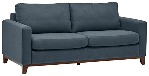 Amazon Marke -Rivet North Modernes Sofa mit freiliegendem Holzgestell, B 198cm, Denim