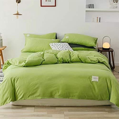 BH-JJSMGS Juego de Cama Simple de Cuatro Colores sólidos, Funda nórdica de Microfibra, Verde Fruta 150 * 200 cm