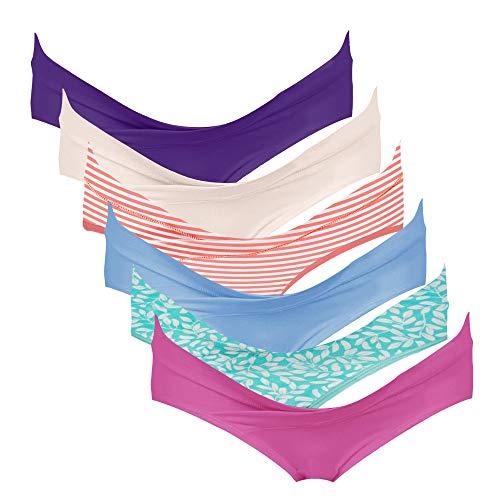 Intimate Portal Mujer Braguitas de Bikini Premamá Debajo la Barriga Bragas Postparto Algodón PK de 6 Multicolor 2XL