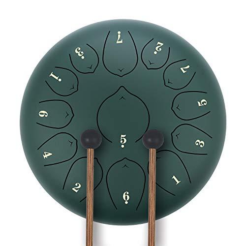KUDOUT 12 Pollici 13 Toni Tamburo Handpan Strumento a Percussione con Bacchette per Tamburi Carry Bag Note Sticks per Meditazione Yoga Zazen Sound Healing Rosso (Verde 2)