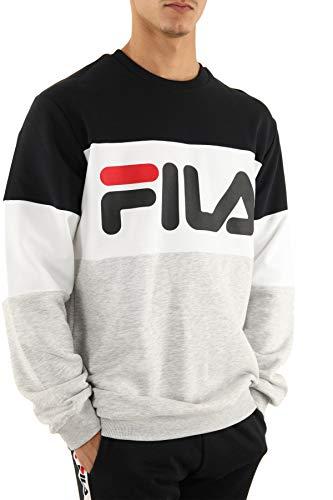 Fila Straight Blocked Crew Mens Sweatshirt Black Light Gray