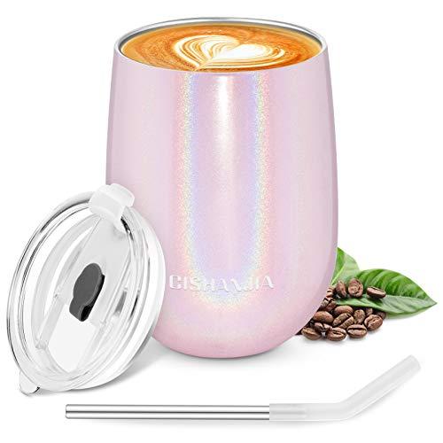 CISHANJIA Kaffeebecher to go Thermobecher Vakuum-Edelstahl Travel Mug mit umweltfreundlichem Deckel BPA-Frei, Leichte Kaffeetasse für Kaffee, Saft und Milch 360 Unzen (Rosa)