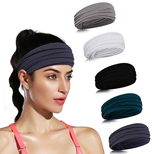 DINIGOFIN Wide Sports Headbands for Women Non Slip Workout Headband Moisture Wicking Sweatband for Yoga Running Athletic Fitness,Solid Color 5PCS