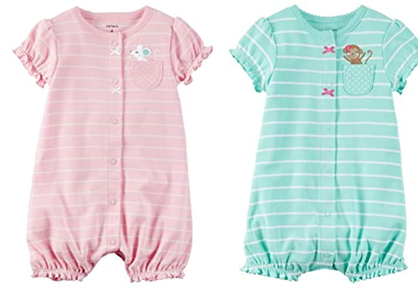 Carter's Baby Girls Cotton 1-Piece Snap-Up Romper Set Of 2 (3 Month, Mouse Monkey)