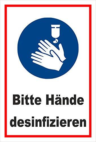 Melis Folienwerkstatt Schild Hände desinfizieren - 15x10cm - Bohrlöcher - 3mm Hartschaum – 20 VAR S00225-014-B