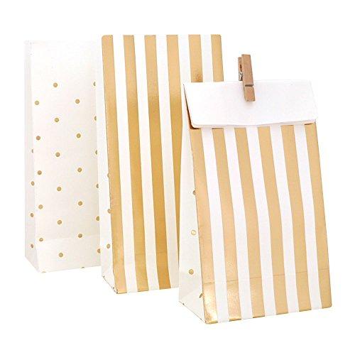 10 bolsas de papel para regalo en color blanco con rayas y lunares dorados.