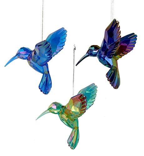 Kurt Adler Shiny Acrylic Hummingbird Ornaments, Set of 3, Assorted)