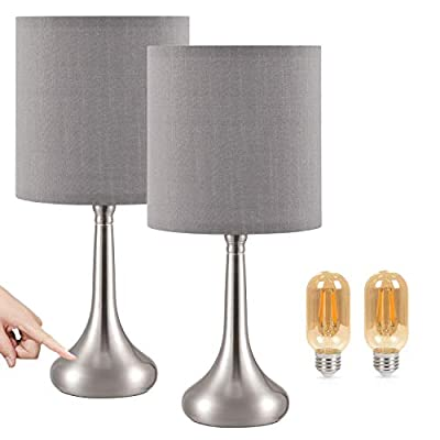 Small Touch Bedside Lamp for Bedroom Set of 2, Grey Touch Bedroom Table Lamp, 3 Way Dimmable Desk Lamp Nightstand Lamp with Grey lampshade for Bedroom, Living Room and Office (LED Bulbs Included)