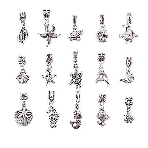 PandaHall 60pcs15 Stile Charms del Tema dell'Oceano Lega tibetana OceanoPesce Pendenti per Gioielli DIY Argento Antico(Conchiglia, Stella Marina, Delfino, Tartaruga, Granchio, Sirena, Lumaca Mare)
