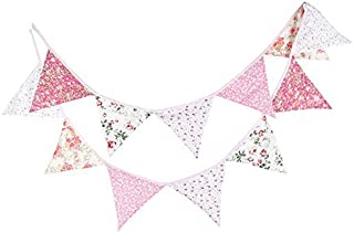 FirstKitchen Lovely 3.3M/10.8Ft Floral Bunting Banner Pennant Garland Double Sided Triangle Flag Vintage Cloth Shabby Chic Decoration for Birthday Parties,Kitchen,Bedroom,Kitchen,Bedroom