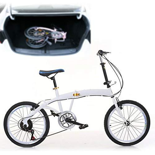 Bicicleta plegable de 20 pulgadas de acero al carbono, 7 velocidades, altura ajustable, para camping, ciudad, color blanco, doble freno en V