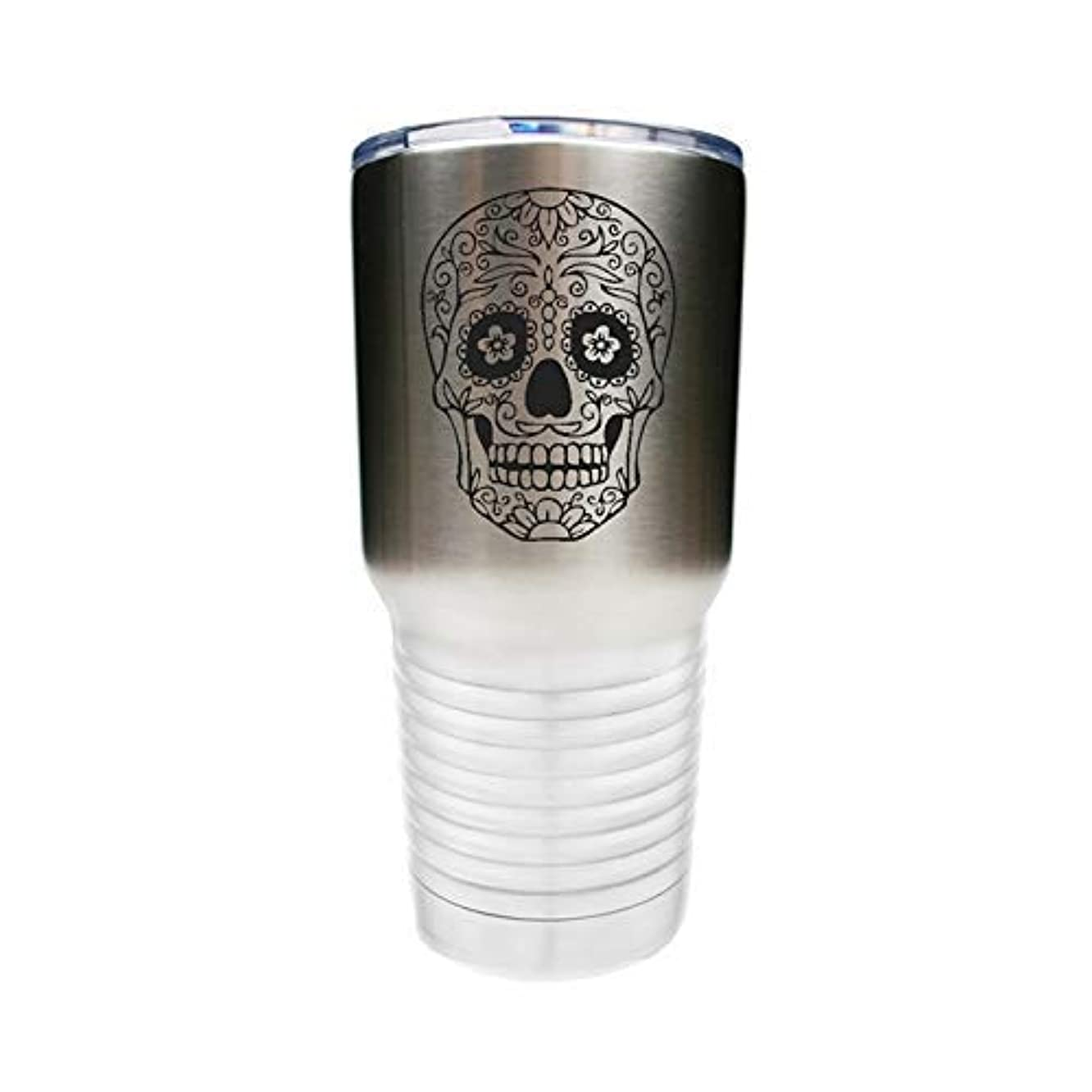 Sugar Skull Tumbler - Stainless Steel w/Clear Lid - Choice of 10 oz, 12 oz, 20 oz, 30 oz, Colors, Name, Letters, Date, Font, Spill Proof Slide Lid, Straw & Your Text - Custom Engraved Gift