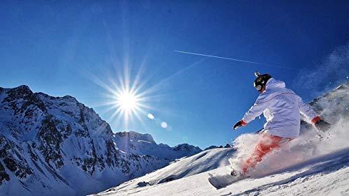 JFIEGTEN Erwachsene Digitale Set Malerei DIY Ölgemälde Für Anfänger Und Kinder Mit Pinselmalerei Haushaltsgegenstände Geschenk 16X20 Zoll-Snowboard Snow Mountain Sun Adrenalin