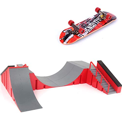 Valentinieya Skatepark Kit Mit Finger Skateboard, Griffbrett Rampe Skate Park Kit DIY Montage Mini Finger Skateboard Deck Skateboard Spielzeug Starter Kit (Size : A Set)