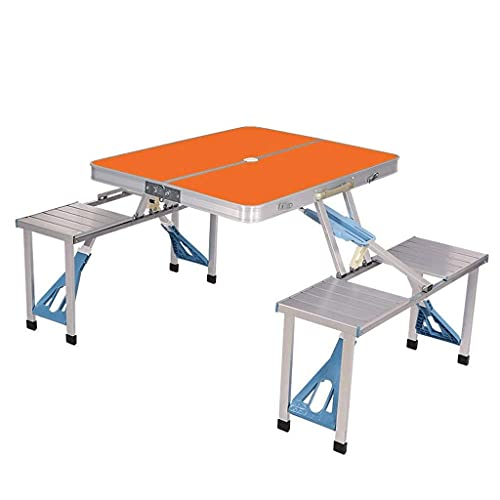 HYLX Computer Table Outdoor Folding Table and Chairs, One Table and Four Chairs, Portable Aluminum Alloy One-Piece Table and Stall, Car Picnic Stall,Orange