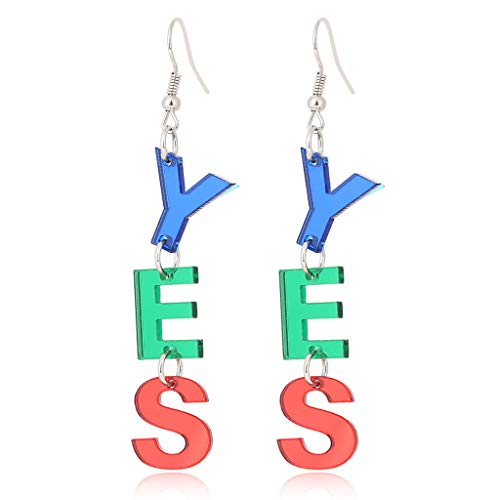 niumanery Colorful OH My God Miss You Yes Message Letter Big Acrylic Letters Drop Earrings