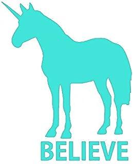 ملصق KCD Unicorn Believe من الفينيل   أكواب سيارات والشاحنات والجدران وأجهزة الكمبيوتر المحمولة   أزرق فاتح   5.5 بوصة   K...
