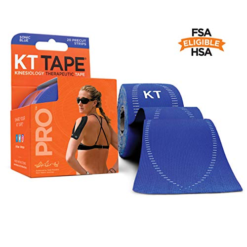 KT Tape Pro Kinesiology Therapeutic Sports Tape, Latex Free, Water Resistance, Pro & Olympic Choice, 20 Precut 10 inch Strips, Sonic Blue, Model Number: KTPRO-PreCut-Sonic Blue