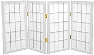 Oriental Furniture 2 ft. Tall Desktop Window Pane Shoji Screen - White - 4 Panels