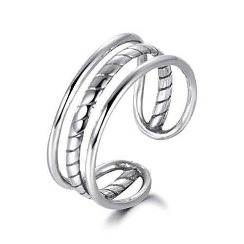 Guzhile - Elegante anello a fascia in argento Sterling 925 a 3 file, stile vintage, regolabile, per donne, ragazze e uomini